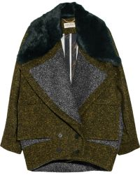 Kenzo Rabbit trimmed Wool-blend Coat - Lyst