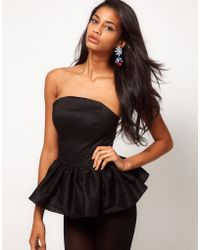 ASOS Collection Asos Bandeau Playsuit with Peplum - Lyst
