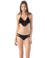 L*Space L* Audrey Fringe Bikini Top - Black - Lyst