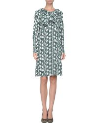 Marni Long Sleeve Crew Neckline Green Short Dress - Lyst