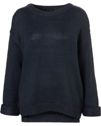 Topshop Knitted Zip Step Hem Jumper - Lyst