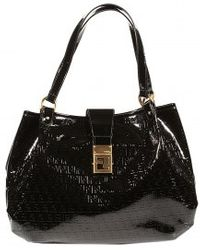 Fendi Forever Zucchino Ecopatent Leather Large Shoulder black - Lyst