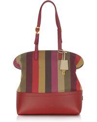 e94e3fa1ec0 Lyst - Fendi Pequin Striped Bag in Red