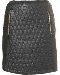Topshop Black Quilted Panel Skirt - Lyst