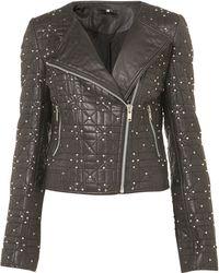 Topshop Diamond Quilt Biker Jacket black - Lyst