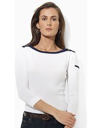 Ralph Lauren Lauren Mickie Three Quarter Sleeve Boatneck Top - Lyst