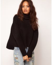 Asos Chunky Sweater with Stepped Hem - Lyst