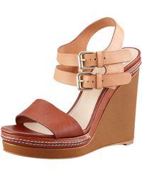 Chloé Double Anklewrap Wedge Sanda - Lyst
