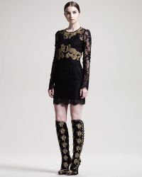 Dolce & Gabbana Longsleeve Embroidered Lace Dress - Lyst