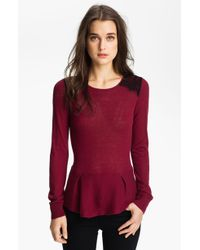 Hinge Lace Shoulder Peplum Sweater - Lyst
