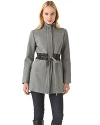 Sunner - Hudson Mid Coat with Leather Trim - Lyst