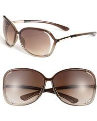 Tom Ford 'Raquel' 68Mm Oversized Open Side Sunglasses - Transparent Bronze - Lyst