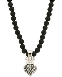 King Baby Studio Small 3d Black Cz Pavé Crowned Heart On Onyx Bead Necklace - Lyst