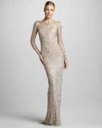 Marchesa Couture Longsleeve Beaded Lace Gown - Lyst