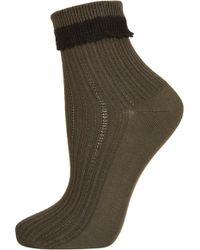 Topshop Khaki Crochet Trim Ankle Socks green - Lyst