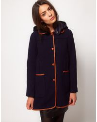 Whistles Tess Duffle Coat in Blue | Lyst