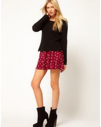 ASOS Collection Asos Skater Skirt in Bird Print - Lyst
