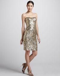 Badgley Mischka Sequined Strapless Cocktail Dress - Lyst