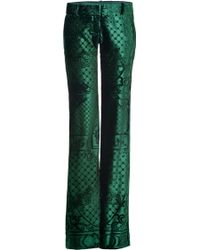 Balmain Bottle Green Laser Cut Velvet Pants - Lyst