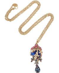 Bijoux Heart - Corail Noir 24karat Goldplated Swarovski Crystal and Opal Necklace - Lyst