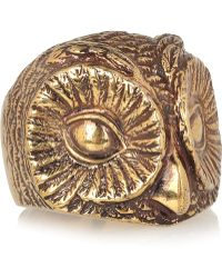 Burberry Burnished Goldtone Owl Ring - Lyst