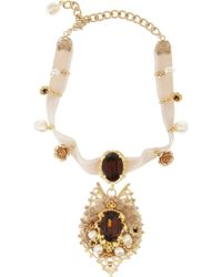 Dolce & Gabbana Goldtone Crystal and Velvet Necklace - Lyst