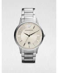 Emporio Armani Round Stainless Steel Watch - Lyst