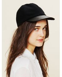 Free People Leather Brim Cap - Lyst