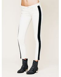Free People Vegan Leather Trim Skinny - Lyst