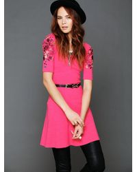 Free People Garden Sleeve Embroidered Dress - Lyst