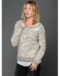 Free People Comes in Waves Slouchy Pullover white - Lyst