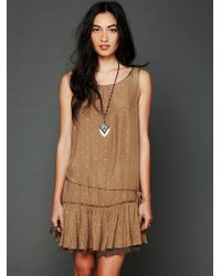 Free People Metallic Jacquard Candy Dress brown - Lyst