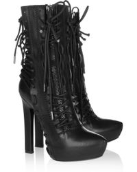 Haider Ackermann Laceup Leather Ankle Boots black - Lyst
