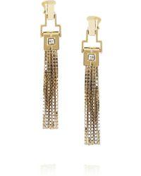 Lanvin Pompons Crystal Tassel Earrings gold - Lyst