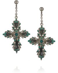 Roberto Cavalli Palladium-Plated Swarovski Crystal and Hematite Cross Earrings - Lyst