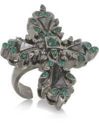 Roberto Cavalli Palladiumplated Swarovski Crystal and Hematite Cross Ring green - Lyst