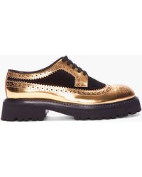 Marni Gold Leather and Suede Platform Brogues - Lyst