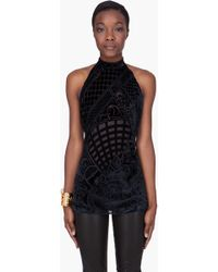 Balmain Black Embroidered Halter Top - Lyst