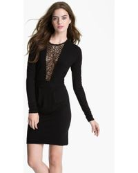French connection Alicia Lace Inset Jersey Sheath Dress - Lyst