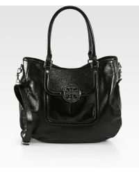 Tory Burch Amanda Patent Leather Classic Hobo - Lyst