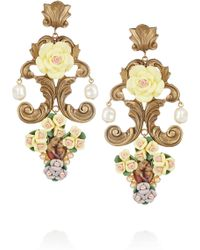 Dolce & Gabbana Goldtone Resin Cameo Clip Earrings - Lyst