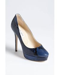 Jimmy Choo Cosmic Snake Embossed Platform Pump blue - Lyst