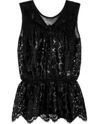 Nina Ricci Lacefront Cottonblend Top black - Lyst