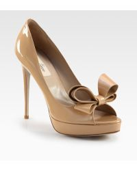 Valentino Couture Patent Leather Bow Platform Pumps - Lyst