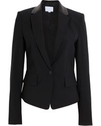 Alexander Wang Leather Paneled Blazer black - Lyst