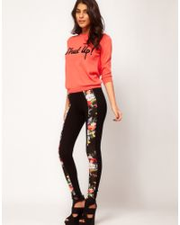 ASOS Collection Asos Leggings with Floral Panel black - Lyst