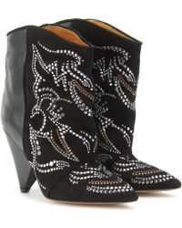 Isabel Marant Memphis Studded Suede and Leather Ankle Boots black - Lyst