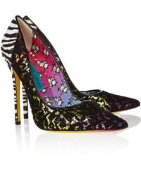 Jimmy Choo Anouk Lace Covered Leather Pumps - Lyst