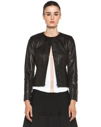 Diane Von Furstenberg Maya Leather Jacket in Black - Lyst