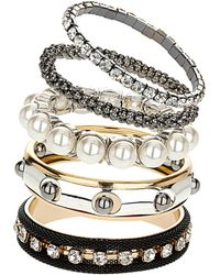 Topshop Pearl and Mesh Bracelet Pack silver - Lyst
